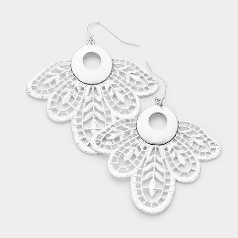 Worn Silver Petal Earrings