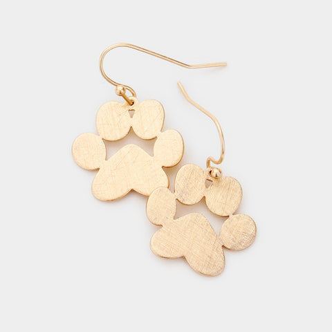 Gold Metal Dog Paw Earrings
