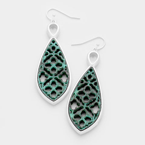 Patina Two Tone Teardrop Earrings
