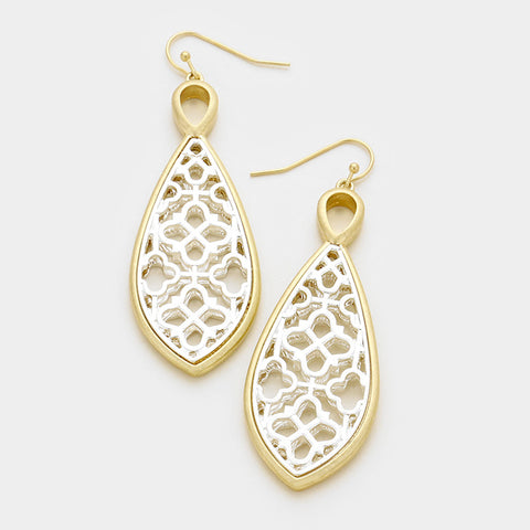 Worn Gold & Silver Teardrop Earrings