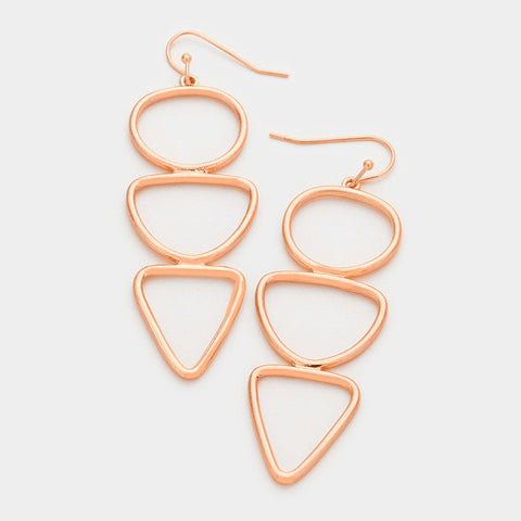 Rose Gold Triple Geo Earrings