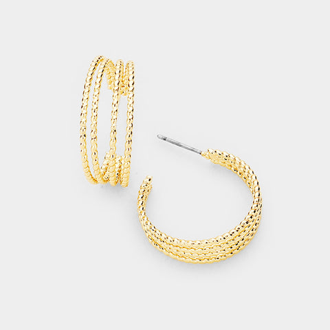 Gold Split Hoop Earrings