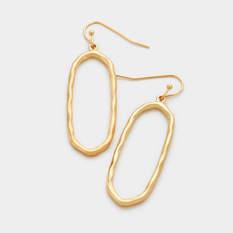 Worn Gold Oval Earrings