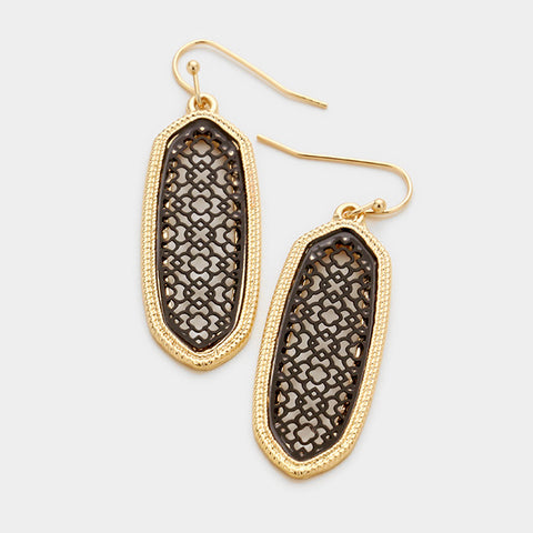 Black & Gold Two Tone Earrings