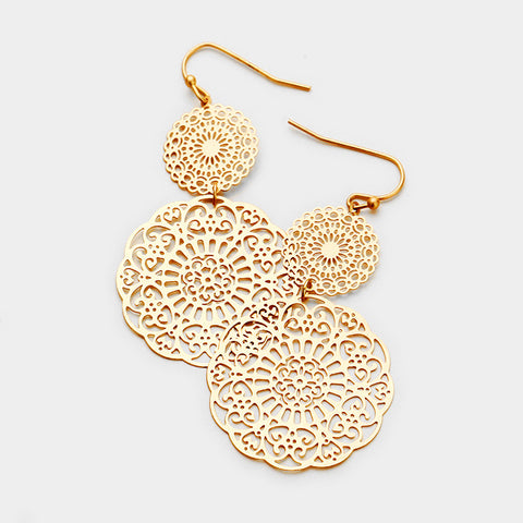 Gold Disc Filigree Earrings