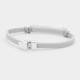 Gray Leather Magnetic Bracelet
