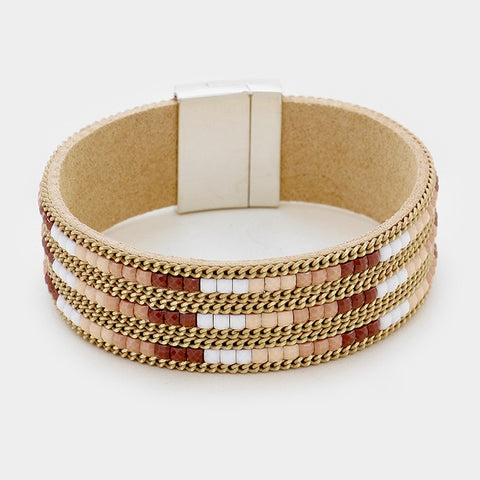 Neutral Pixel Bead Bracelet