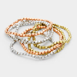 9 PC Multi Metal Stretch Bracelet