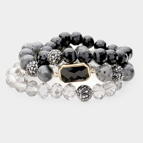 Black Stretchable Bead Bracelet
