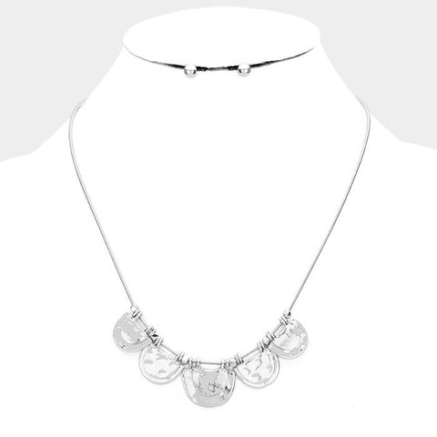 Silver Half Round Necklace Set