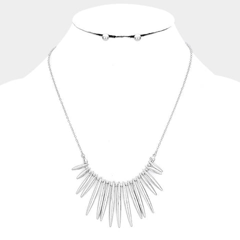 Silver Fringe Necklace Set