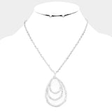 Silver Teardrop Hoop Necklace Set
