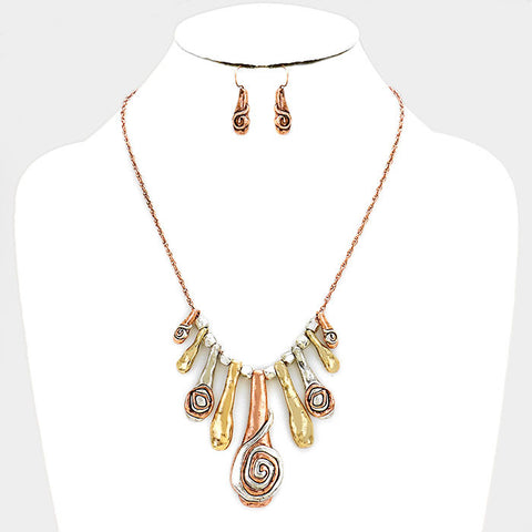 Multi Color Abstract Hammered Necklace Set