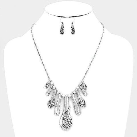 Abstract Silver Hammered Necklace Set