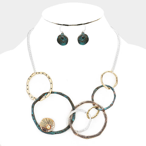 Geo Patina Hoop Necklace Set