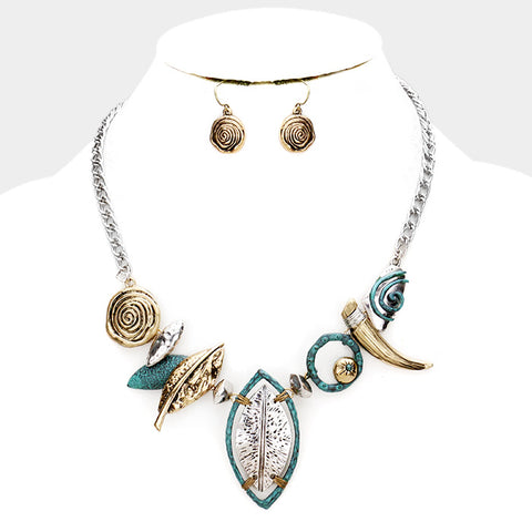 Mixed Metals Abstract Hammered Necklace Set