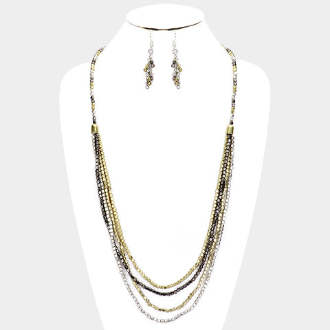 Hematite and Gold Necklace Set