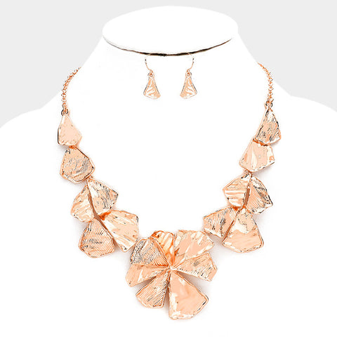 Rose Gold Flower Link Necklace Set