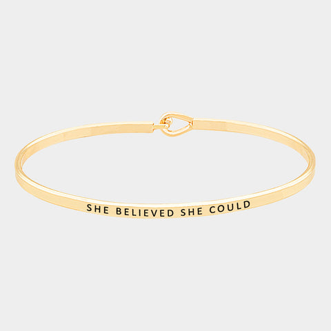 "Gold ""She Believed She Could"" Bracelet"