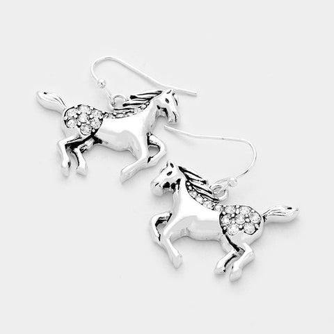 Antique Silver Horse Earrings