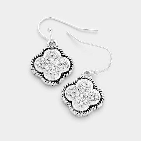 Antique Silver Clover Earrings