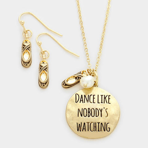 Gold Dance Like Nobody's Watching Necklace Set