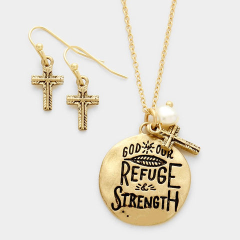 Gold God is Our Refuge Necklace Set
