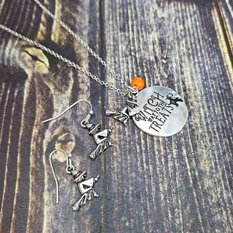 Silver Witch Way to the Treats Necklace Set