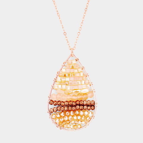 Rose Gold Beaded Teardrop Necklace Set