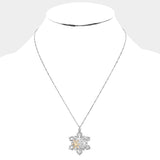 Silver Snowflake Necklace Set