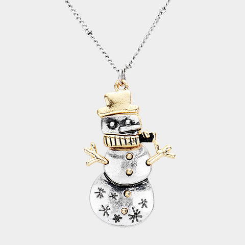 Silver Snowman Necklace