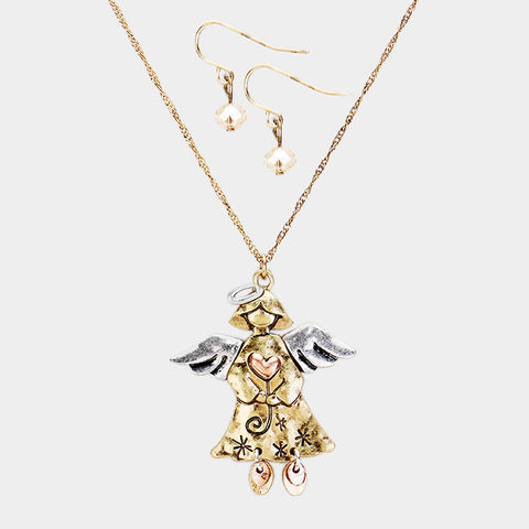 Three Tone Angel Necklace Set