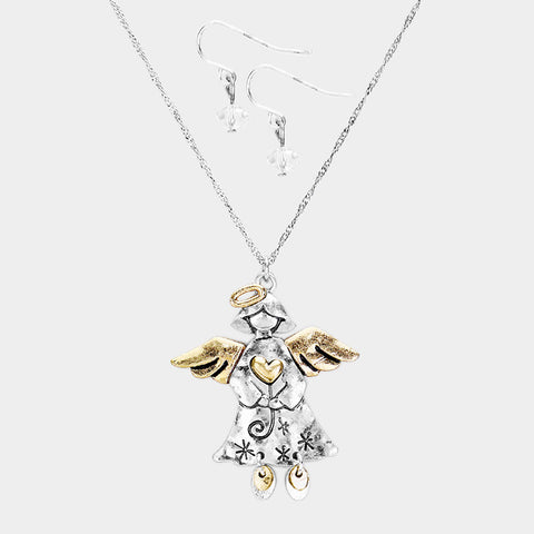 Two Tone Angel Necklace Set