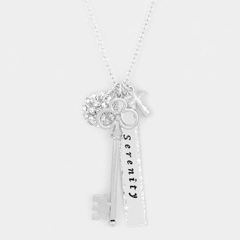 Silver Cross, Key & Lock Necklace