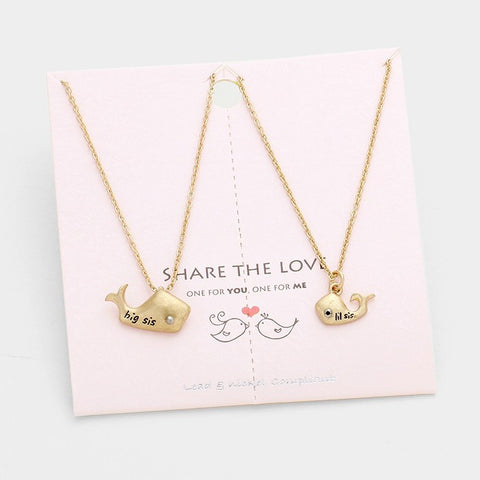 Gold Big Sister Little Necklace Set