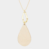 Gold Leather Teardrop Pendant Necklace