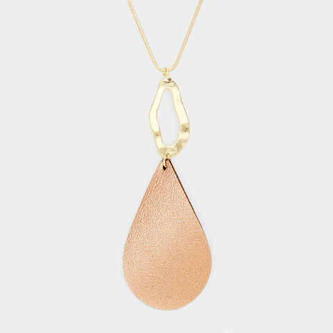 Rose Gold Leather Teardrop Pendant Necklace