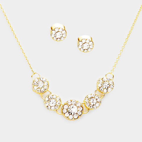 Gold Rhinestone Round Necklace Set
