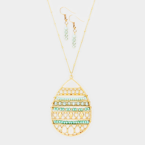 Green Beaded Teardrop Necklace Set