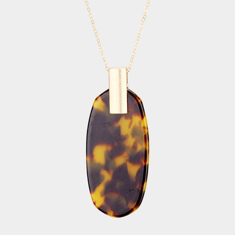 Brown Celluloid Pendant Necklace