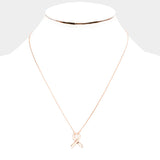Rose Gold Pink Ribbon Necklace