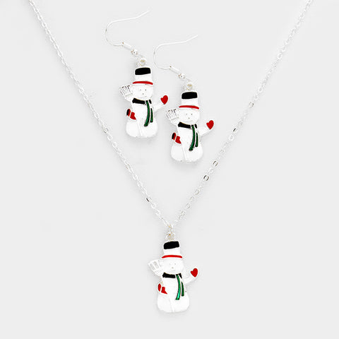 Silver Snowman Necklace Set