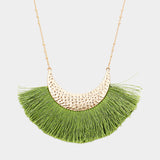 Olive Green Tassel Necklace