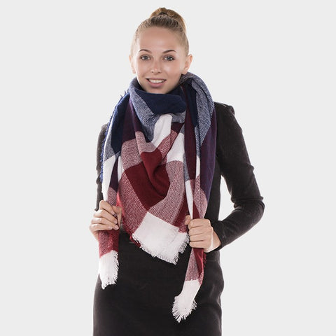 Navy and Burgundy Blanket Scarf