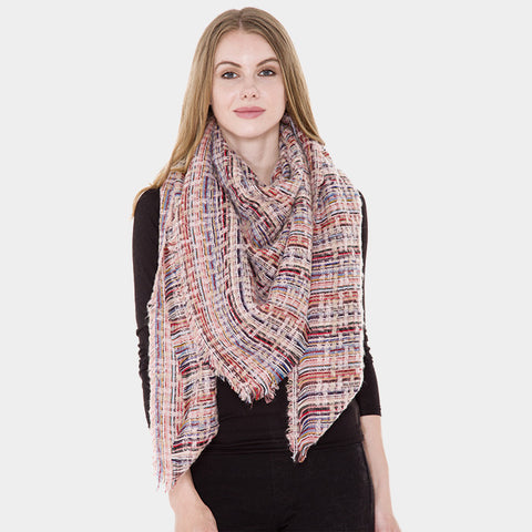 Pink Patterned Blanket Scarf