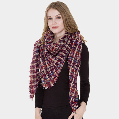 Purple Patterned Blanket Scarf
