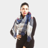 Navy Multi Colored Blanket Scarf