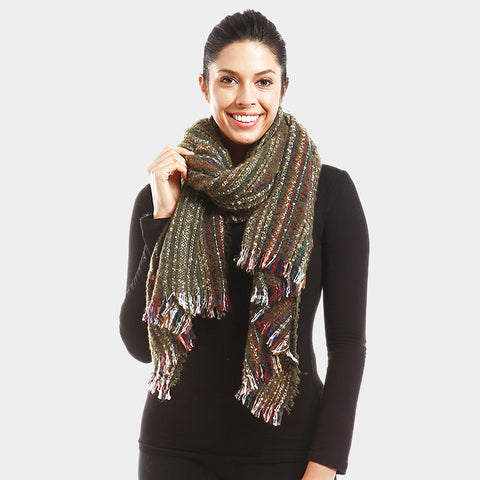 Olive Boucle Scarf