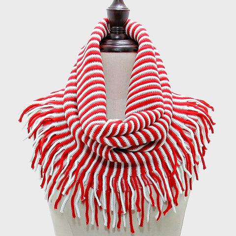 Red & White Snood Scarf