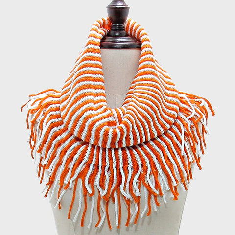 White and Orange Infinity Snood Scarf